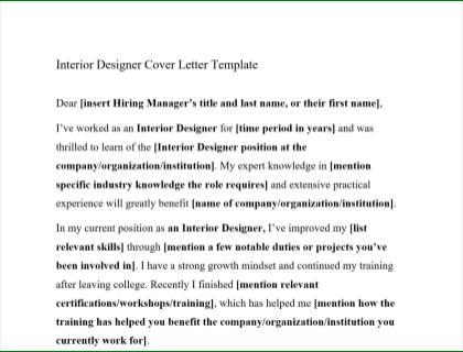 Interior Designer Cover Letter Free Template