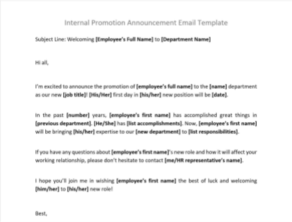 Internal Promotion Announcement Email Includes Template
