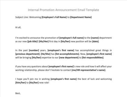 Promotion Announcement Letter Sample from www.betterteam.com