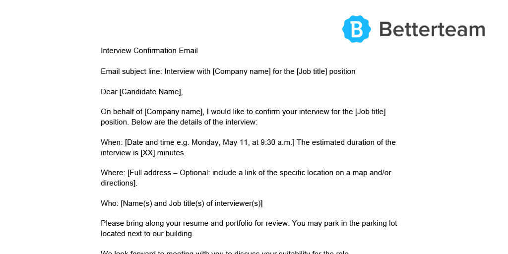 interview confirmation email w   free downloadable template