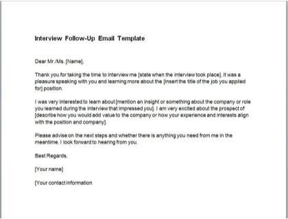 Interview Follow-Up Email Template