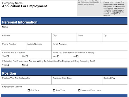 job application form - Sample Application Forms