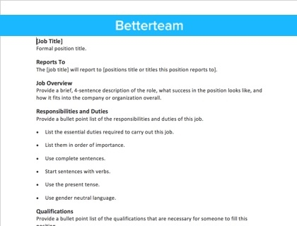 Job Description Template Sample  Job Qualifications