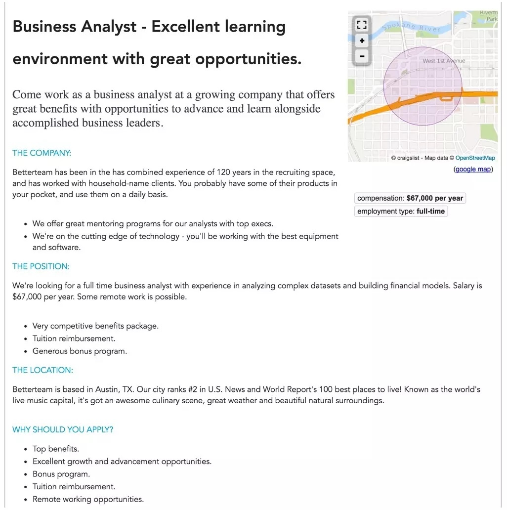 Business Analyst Employment Posting Example