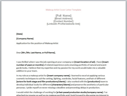 Makeup Artist Cover Letter Template