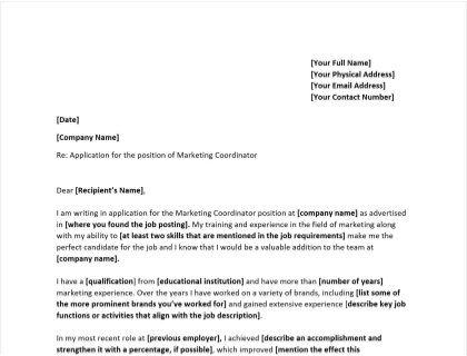 Marketing Coordinator Cover Letter Template