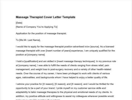 Massage Therapist Cover Letter Free Template