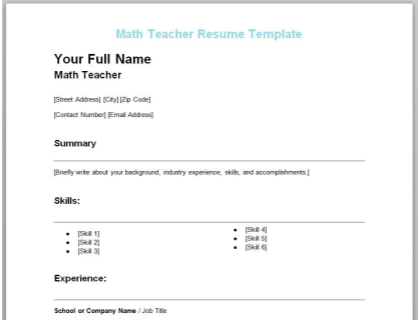 Math Teacher Resume Free Template