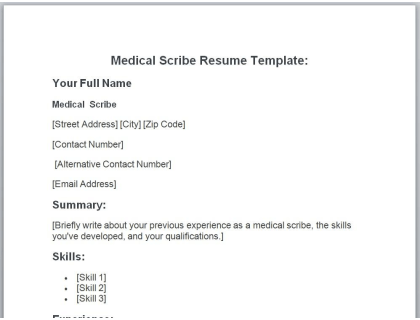 Medical Scribe Resume Free Template