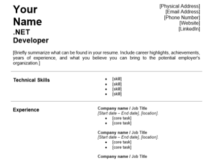 Net Developer Resume Template Download