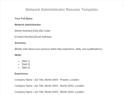Network Administrator Free Template