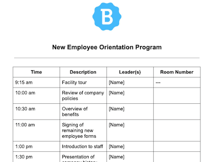 New Employee Orientation Program Sample