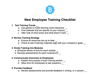 New Employee Training Checklist
