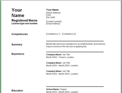Nursing Resume Free Template
