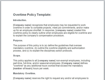 What Is An Overtime Policy Includes Template