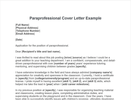 Paraprofessional Cover Letter Free Template