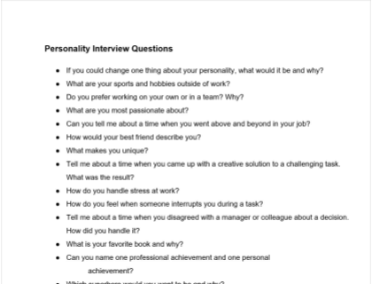 Personality Interview Questions Template