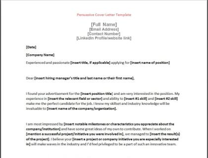 Persuasive Cover Letter Template