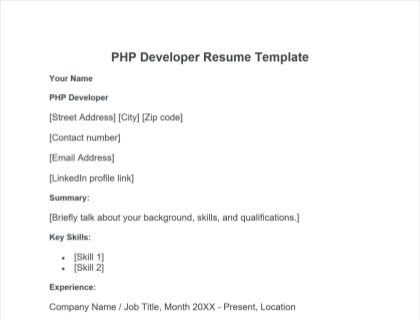 PHP Developer Resume Free Template
