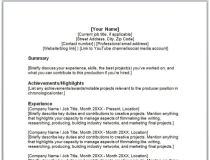 Producer Resume Free Template