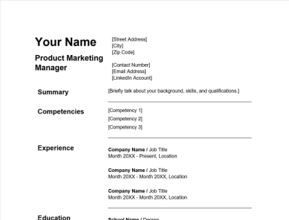 Product Marketing Manager Resume Free Template