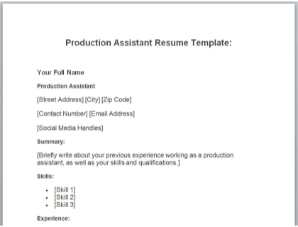 Production Assistant Resume Free Template