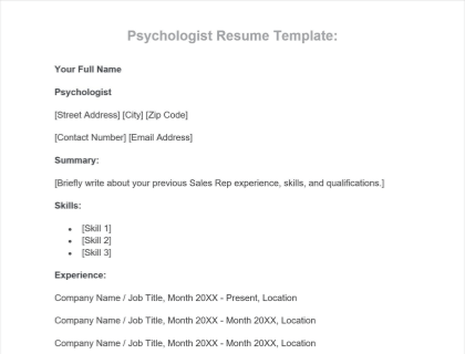 Psychologist Resume Free Template