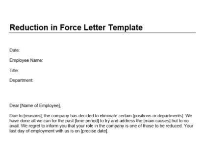 Reduction In Letter Template Download