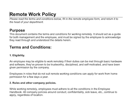 Remote Work Policy Template