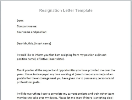 Formal Resignation Letter Example from www.betterteam.com