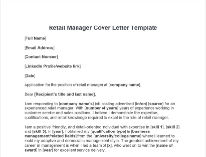 Retail Manager Cover Letter Free Template