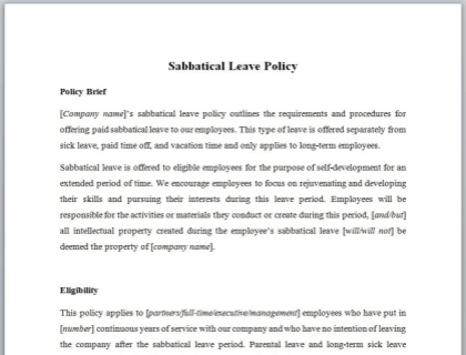 Sabbatical Leave Policy Template
