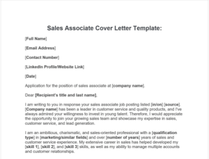 Sales Associate Cover Letter Free Template