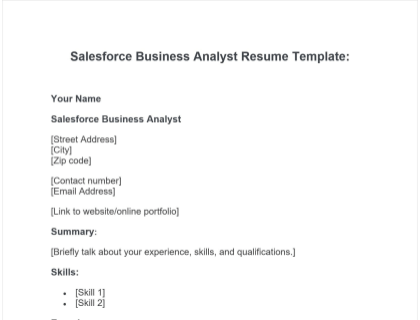 Salesforce Business Analyst Resume Free Template