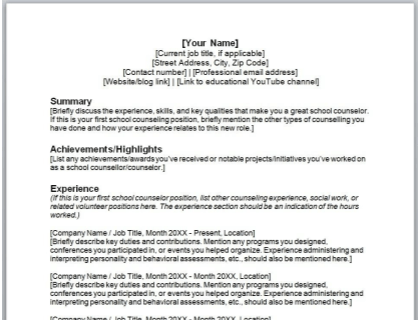 School Counselor Resume Free Template
