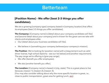 Shift Leader Job Description