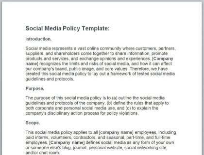 Social Media Policy Free Template