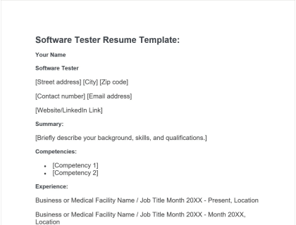 Software Tester Resume Free Template