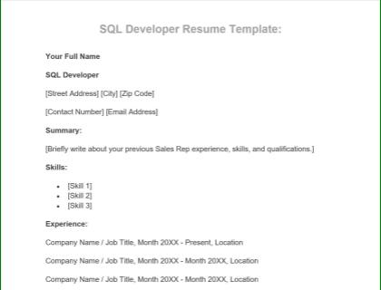 SQL Developer Free Template