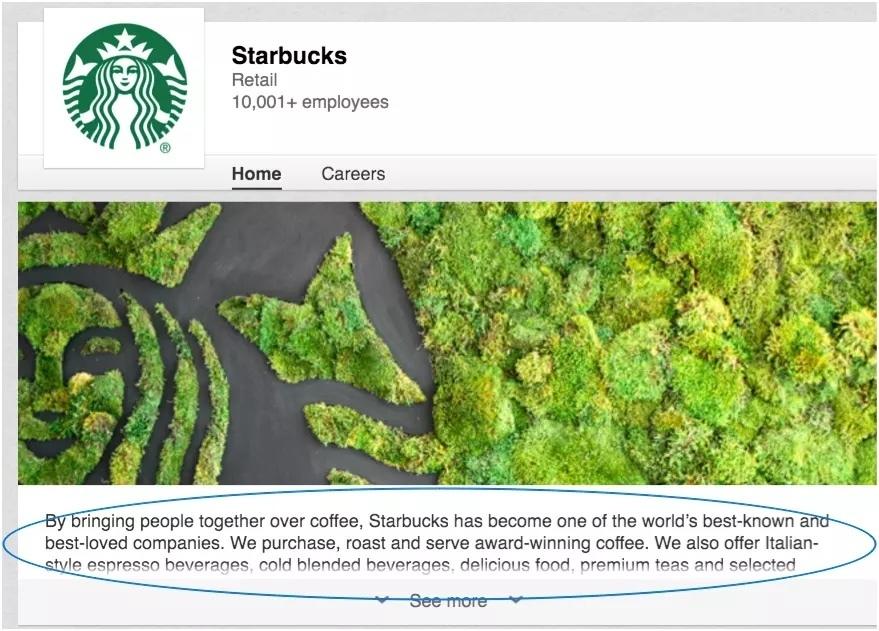 Starbucks Linkedin Page Example