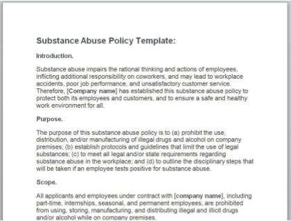 Substance Abuse Policy Template