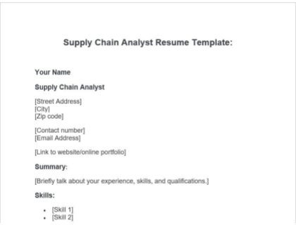 Supply Chain Analyst Resume Free Template