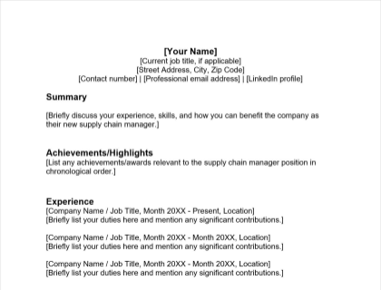 Supply Chain Manager Resume Free Template