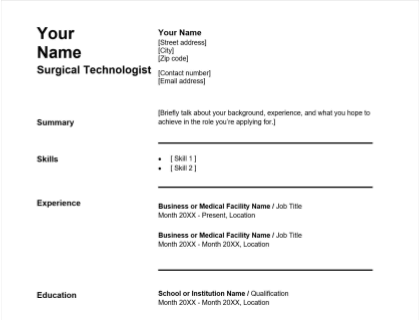 Surgical Technologist Resume Free Template