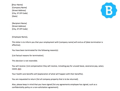 4 sample termination letters easy template employee termination letter download altavistaventures Image collections
