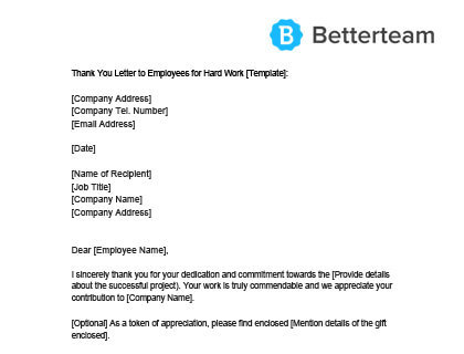 Thank You Letter to Employees Sample - Free Download