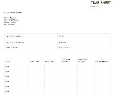 photo regarding Free Printable Time Sheets Pdf titled Timesheet Template - Free of charge Down load for Term, Excel and PDF