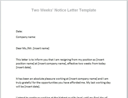 Best Two Weeks Notice Letter from www.betterteam.com