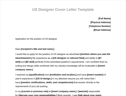 Ux Designer Cover Letter Includes Free Template