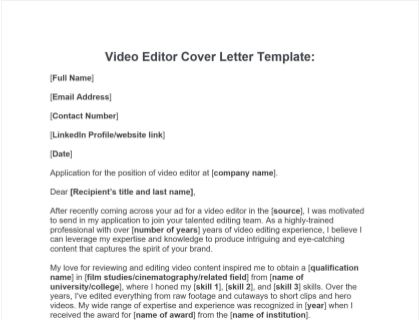 Video Editor Cover Letter Free Template